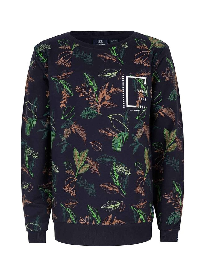 CREWNECK ALL OVER LEAVES - Navy Blue