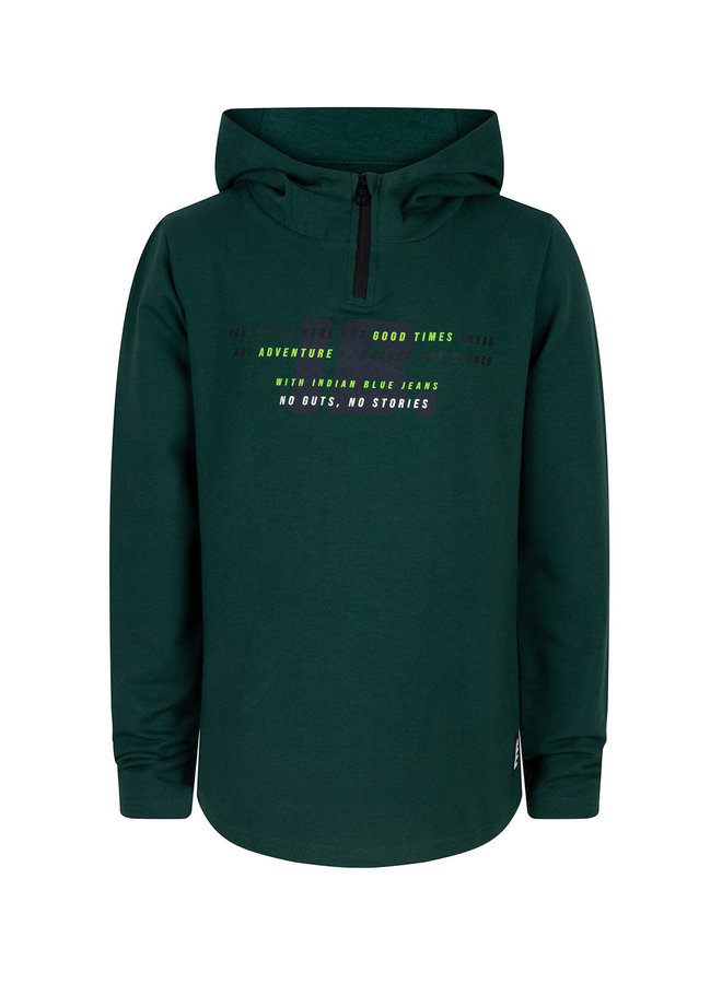 HOODED T-SHIRT LS IB - Dark Green