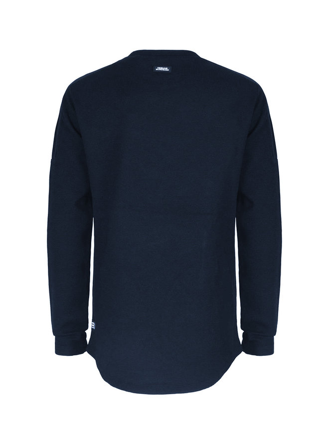 T-SHIRT LS FANCY PIQUE - Navy Blue