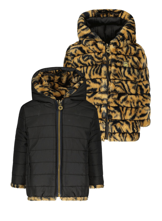 Flo baby girls hooded reversible jacket - Zebra