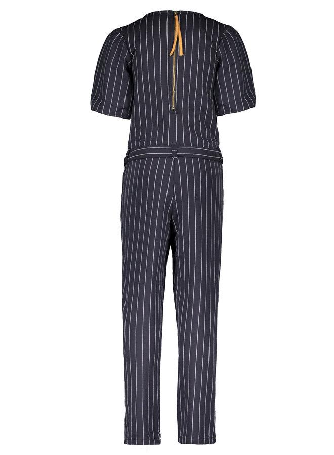 Flo girls stripe jumpsuit ballon sleeve - Navy