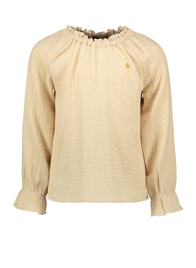 Flo girls fancy double fabric blouse -Apricot