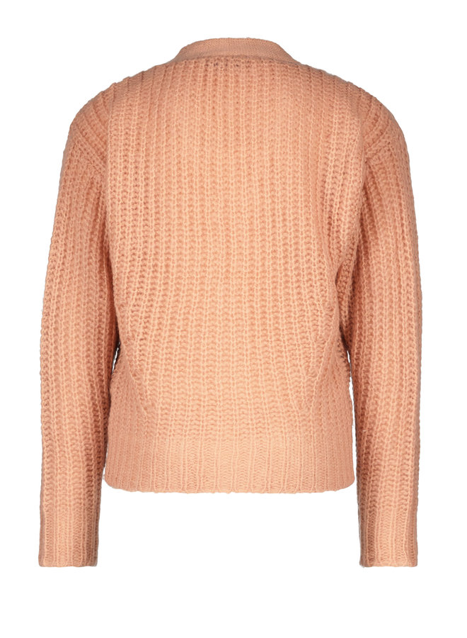 Flo girls rib knit cardigan horn button - Powder pink