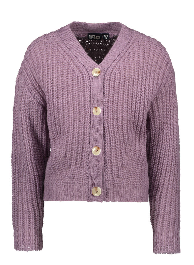 Flo girls rib knit cardigan horn button - Lilac