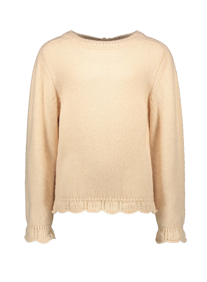 Flo girls knitted ajour sweater - Apricot