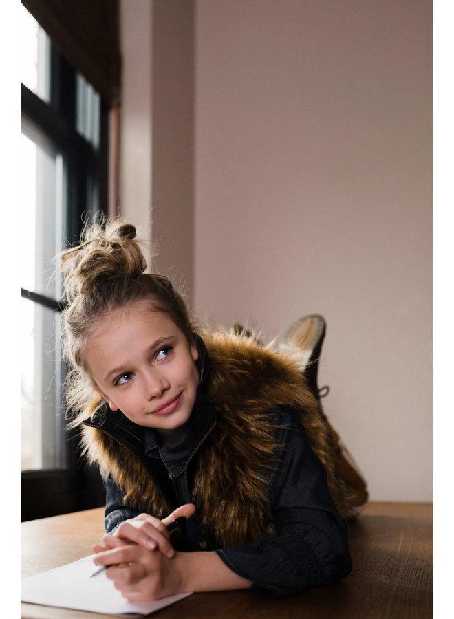 Flo girls long hair fur bodywarmer - Natural