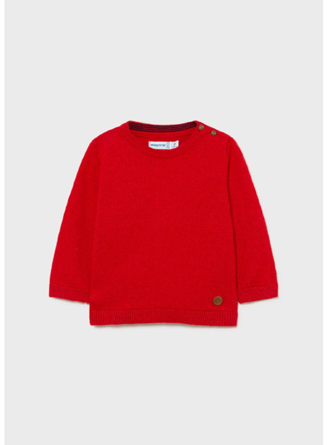 Mayoral Basic crew neck sweater Red