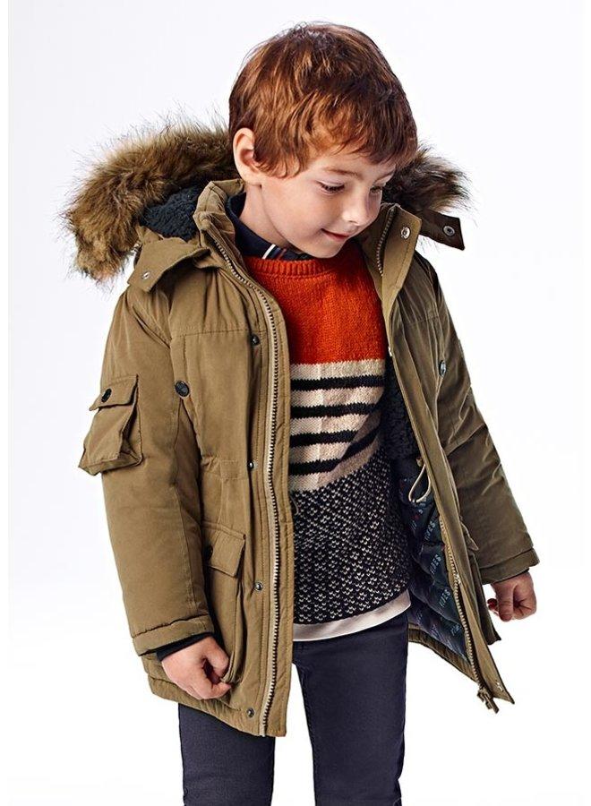 Mayoral Faux fur hooded parka coat Brown