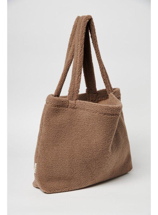 Brown teddy mom-bag