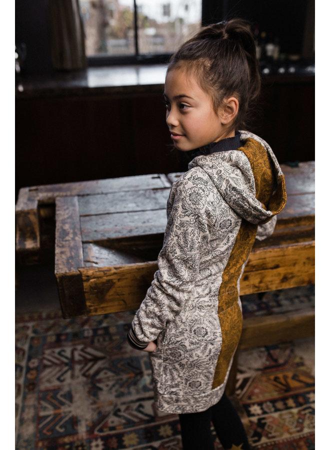 Flo girls sweat hooded dress - Paisley