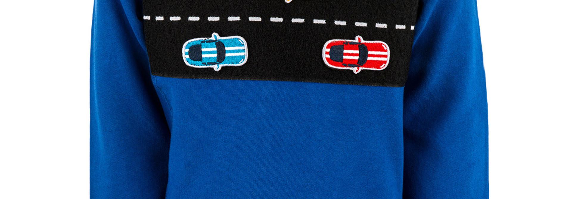 Stones and Bones sweater race cars