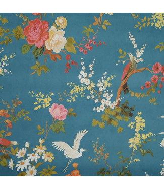 Behang  Bloemen Blauw