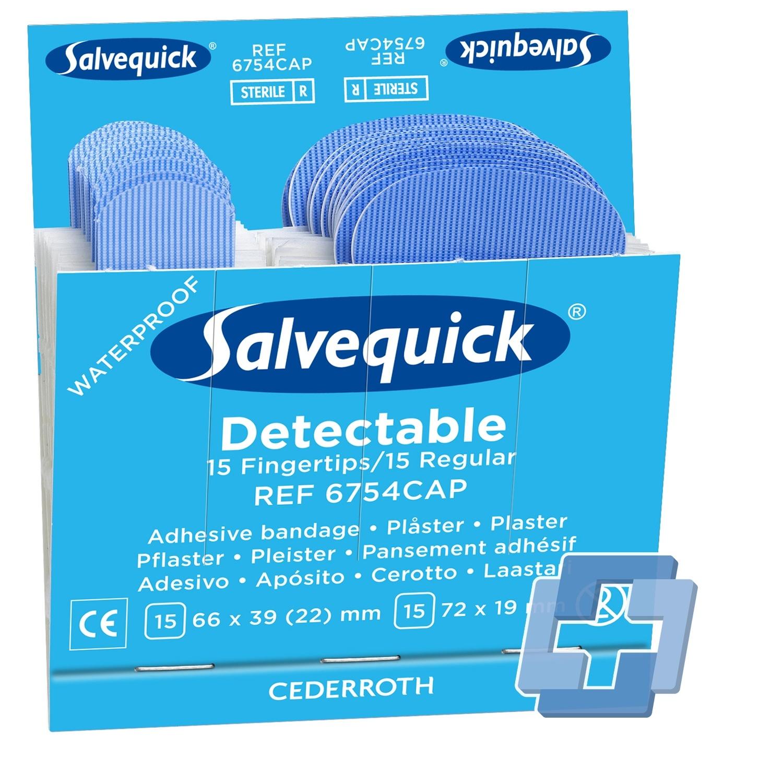 Salvequick 6754 navulling 30 blauwe vingertop (6 stuks)