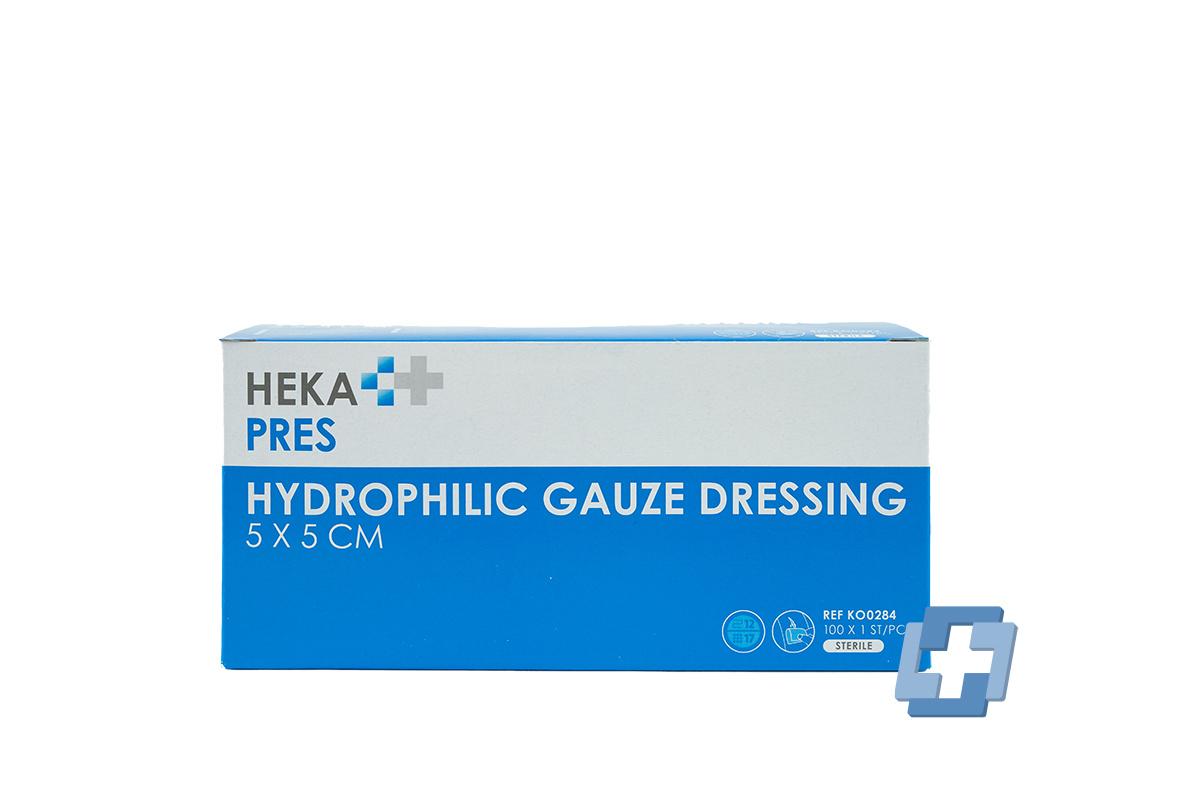 HEKA Hydrofiel gaaskompres 12 laags - 5 x 5 cm (100 stuks)