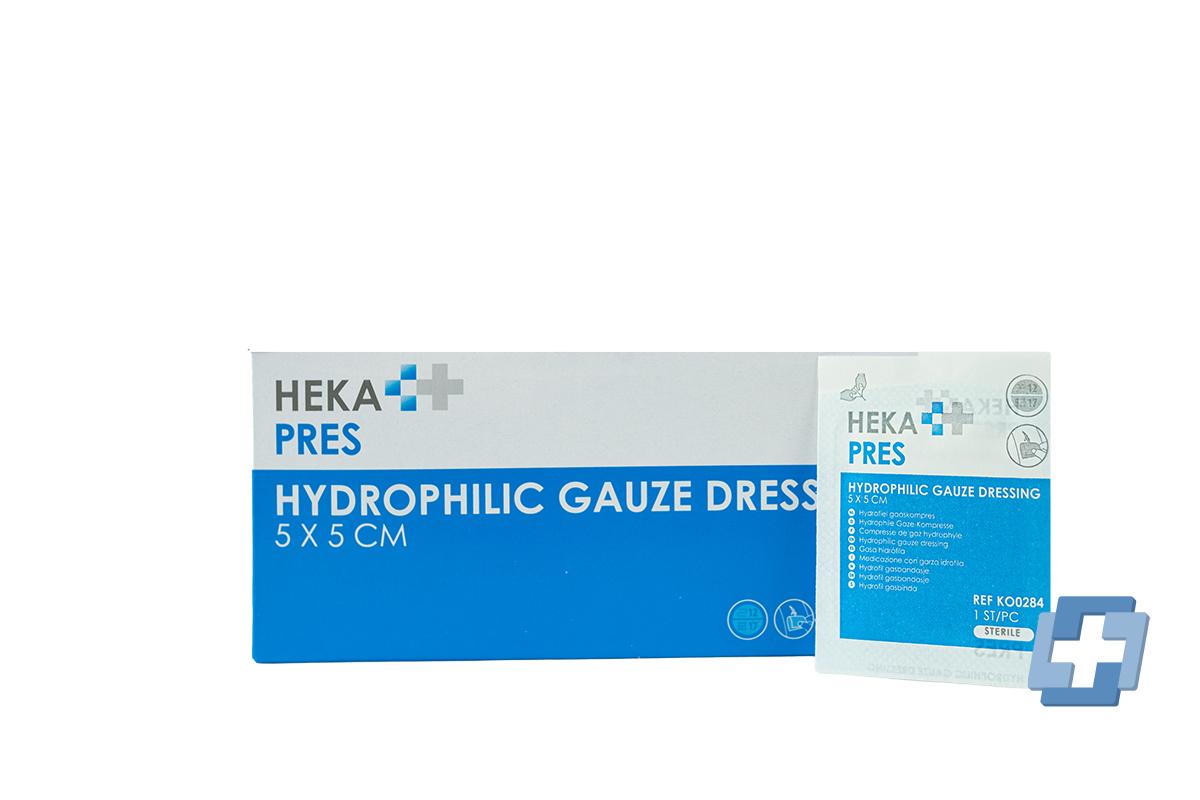 HEKA Hydrofiel gaaskompres steriel 12 laags - 5 x 5 cm (per stuk)