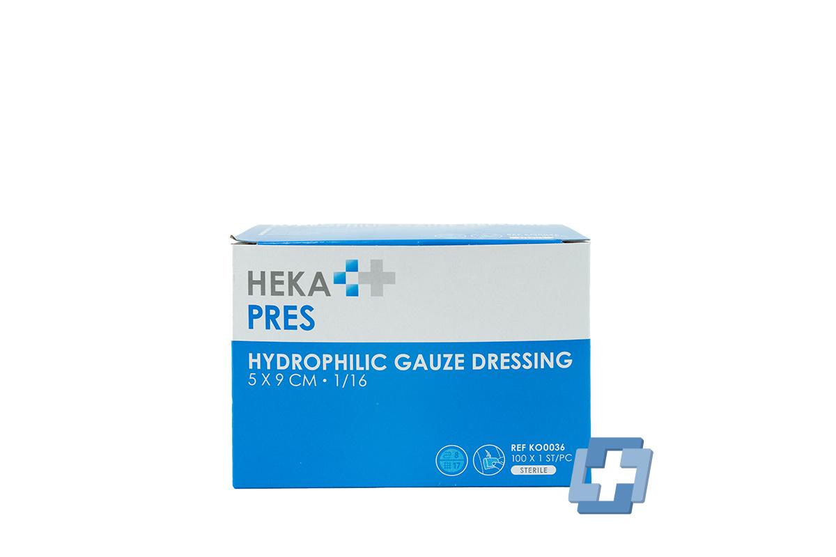 HEKA Hydrofiel gaaskompres 1/16 steriel 8 laags (100 stuks)