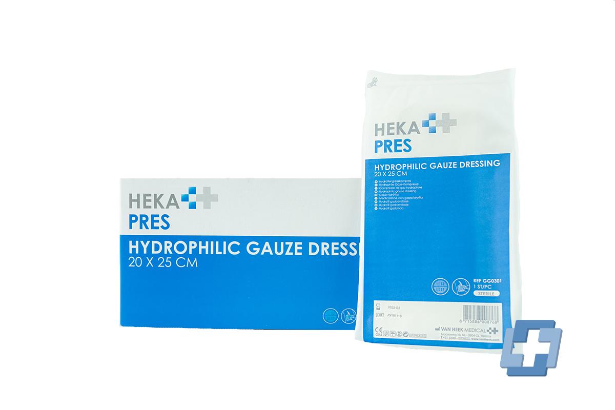 HEKA Hydrofiel gaaskompres steriel 12 laags - 20 x 25 cm (per stuk)
