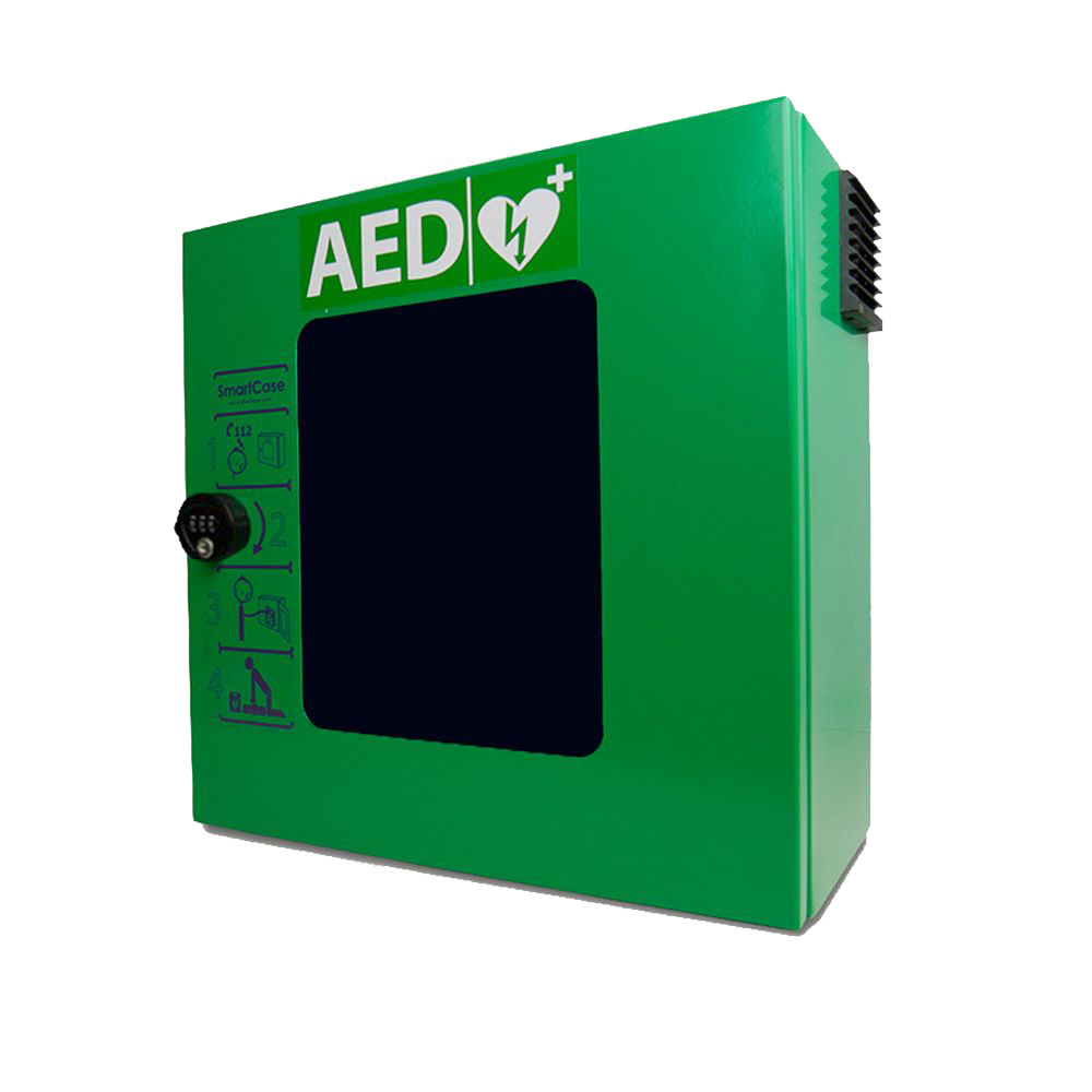 Sixcase AED buitenwandkast aluminium groen met slot
