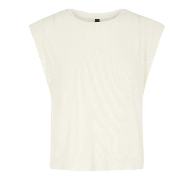 Y.A.S padded schoulder top off white
