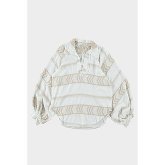 Trend blouse ballonmouw aztec print taupe
