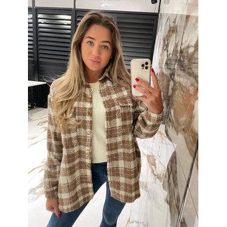 Trend checked blouse zand