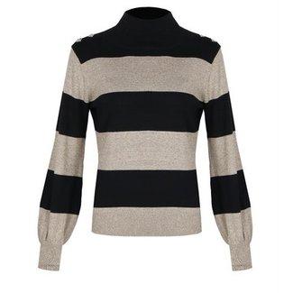 G-Maxx trui zwart/zand knoopjes