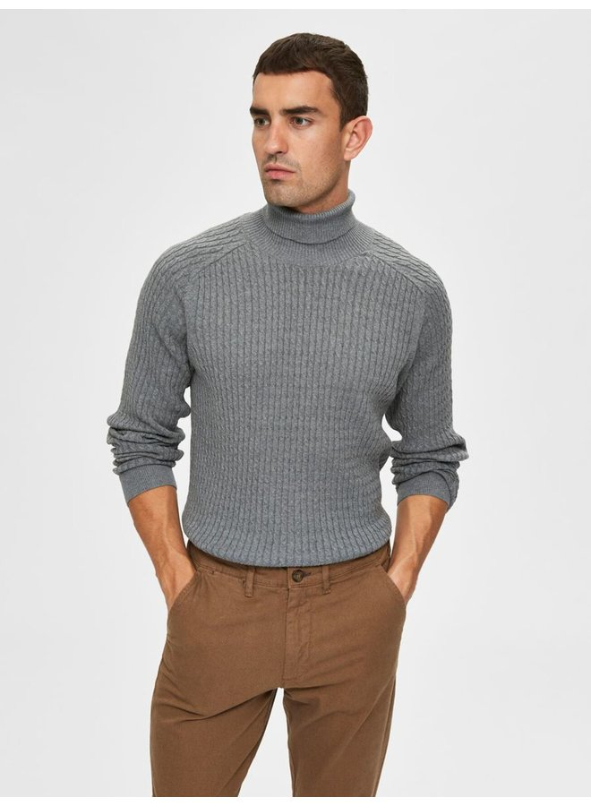 Selected rollneck grey melange