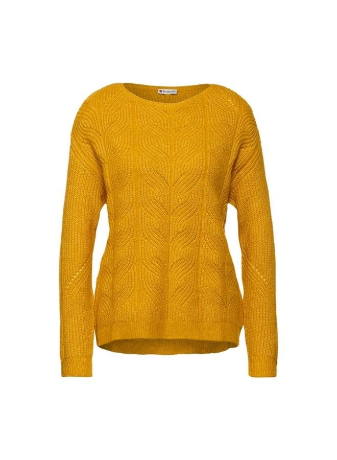 StreetOne cable knit pullover yellow
