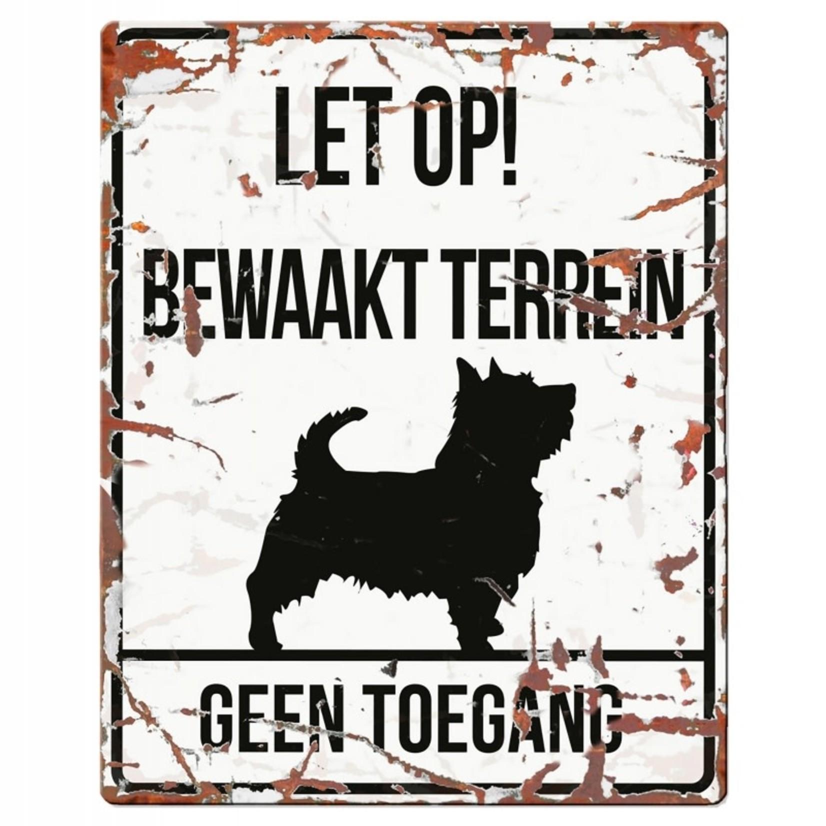 D&D Waakbordje Warning Sign Vierkant Wit (diverse rassen)