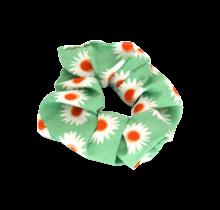 Scrunchie groen met bloem