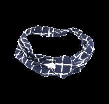 Haarband marine met witte ruit