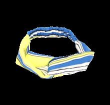 Haarband geel, blauw, wit patroon