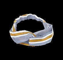 Haarband denim met mosterd/witte strepen