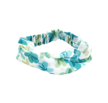 Haarband blauw/groene bloemen