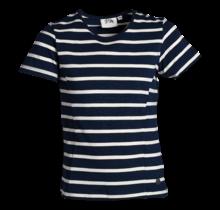 Meisjes shirt marine/offwhite gestreept