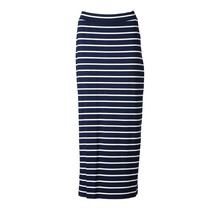 Dames lange tricot rok marine/off white strepen