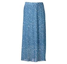 Dames plisse stippen lichtblauw lang