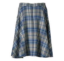 Dames rok a-lijn geblokt blauw