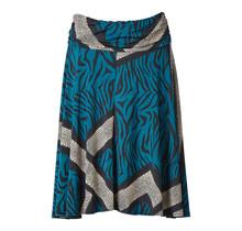 Dames tricot rok blauw panter, creme slangenprint