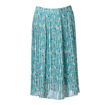 Dames rok plisse bladeren print turquoise