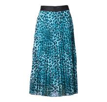Dames plisse rok panterprint lichtblauw glitterband