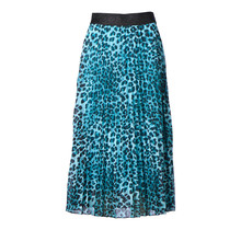 Dames plisse rok tijgerprint lichtblauw glitterband