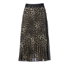 Dames plisse rok panterprint donkergroen met glitterband