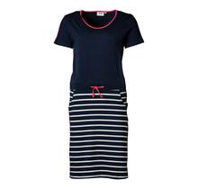 Dames jurk Marine/witte strepen en rood accent