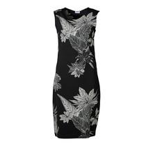 Dames milano jurk zm lang Zwart/off white