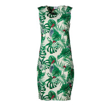Dames milano jurk zm kort Groene bladeren