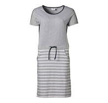 Dames jurk Grijs/witte strepen met marine accent