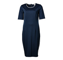 Dames stretch jurk marine/wit accent, km, lang