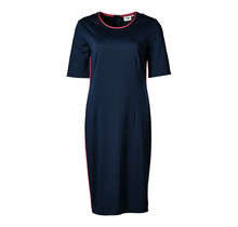 Dames stretch jurk marine/rood, km, lang