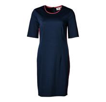 Dames stretch jurk marine/rood accent, km, kort